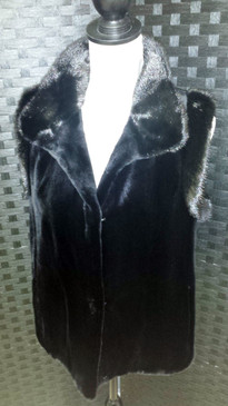 black dyed sheared mink vest with long hair mink trim