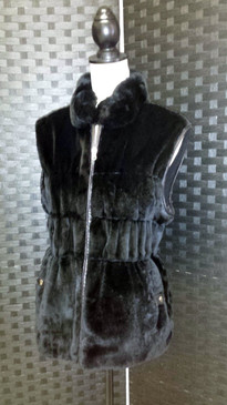 Black dyed rex rabbit vest with knit reversible to leather