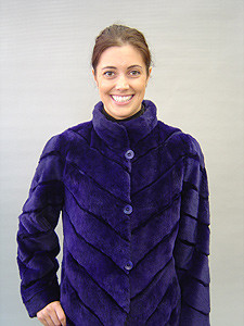 Purple Dyed Sheared Mink 3/4 Coat, Small Stand Up Collar, Reversible to Silk