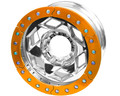 17in Aluminum Beadlock Wheel  (8 on 170mm w/4.25in BS)  Orange Segmented Ring