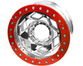 17in Aluminum Beadlock Wheel  (8 on 170mm w/4.25in BS)  Red Segmented Ring