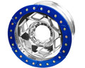 17in Aluminum Beadlock Wheel  (8 on 170mm w/5.00in BS)  Blue Segmented Ring