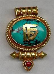 Gau Locket, Oval  with Turquoise and Gold