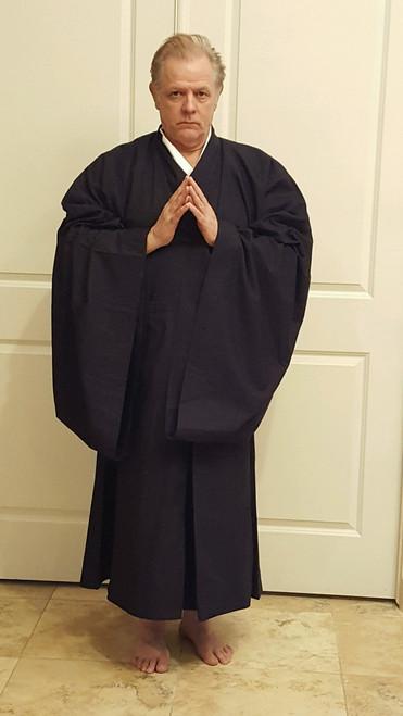 Zen Priest Koromo robe, regular weight, full view