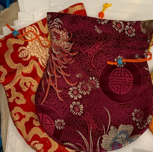 Beautiful Red Brocade Patterned large mala bag