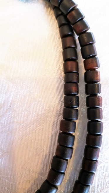 Dark Rosewood Mala, barrel shape beads, close up