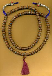 Inlaid Tibetan Wood Mala, silver and coral