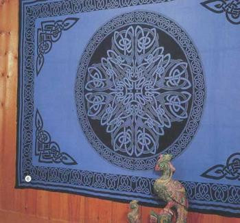 Blue Celtic Print bedspread, Queen size, made from easy care Indian cotton. Affordable bedspreads which add color and life to any bedroom.