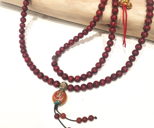 Hand carved red love and compassion bamboo mala, 8mm