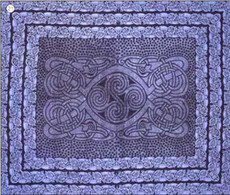 Celtic Spirals Tapestry Bedspread in blue, Twin size, made from easy care Indian cotton.