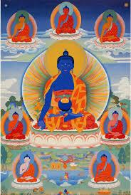 Seven Medicine Buddhas with Main Dark Blue Healing Medicine in the center.