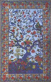 Blue Tree of Life Tapestry bedspread, single size, made from easy care Indian cotton.