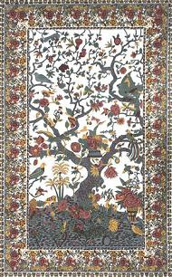 White Tree of Life Tapestry bedspread, single size, made from easy care Indian cotton.
