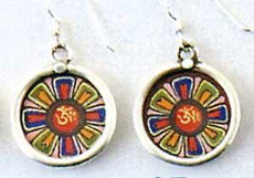 Om Earrings, Full color