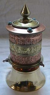Tabletop Prayer Wheel, Copper, 2-line
