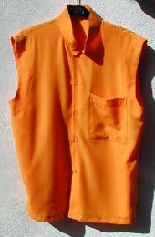 Saffron Sleeveless Meditation Shirt, buttons