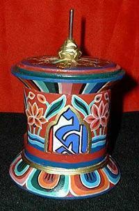 Om Mani Prayer Wheel, Hand Painted