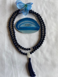Medicine Buddha Blue stone and crystal mala, 8mm
