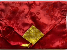 Silky poly and brocade book style sutra cover, closed