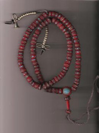 Red Bone Mala with inlay, counters