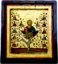 Christ is the Tree of Life embodied in this image of the Byzantine Style Greek Icon on Old Wood.
