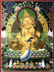 Yellow Dzambhala or Vaishravana Thangka with mongoose and fruit of abundance. Used in Kubera ritual and wealth pujas