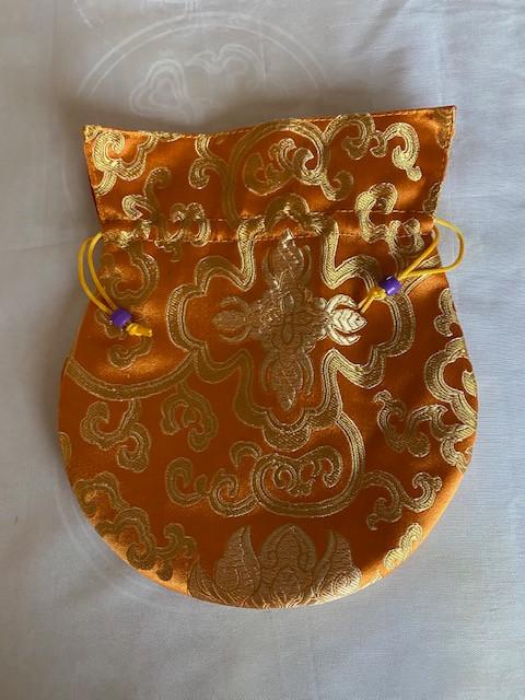 Saffron Brocade Large Poly Silk Mala Bag