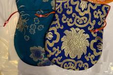 Beautiful Blue Large Poly Silk Mala Bag