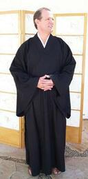 Zen Lay Robe regular weight cotton, Black, Medium size only