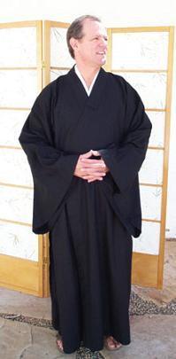 Zen Lay Robe regular weight cotton, Black, Medium size only