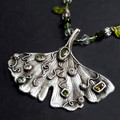 18-5PA Jewelled Gingko Leaf (Metal Clay)