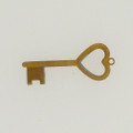Brass Key with Heart Detail