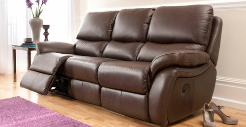 3 SEATER POWER RECLINER SOFA IN MAHOGANY GRADE B LEATHER  CLEARANCE MODEL - ONE ONLY IN STOCK!