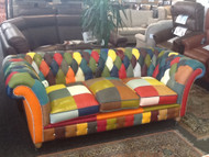 HARLEQUIN LEATHER MODERN CHESTERFIELD 3 SEATER SOFA