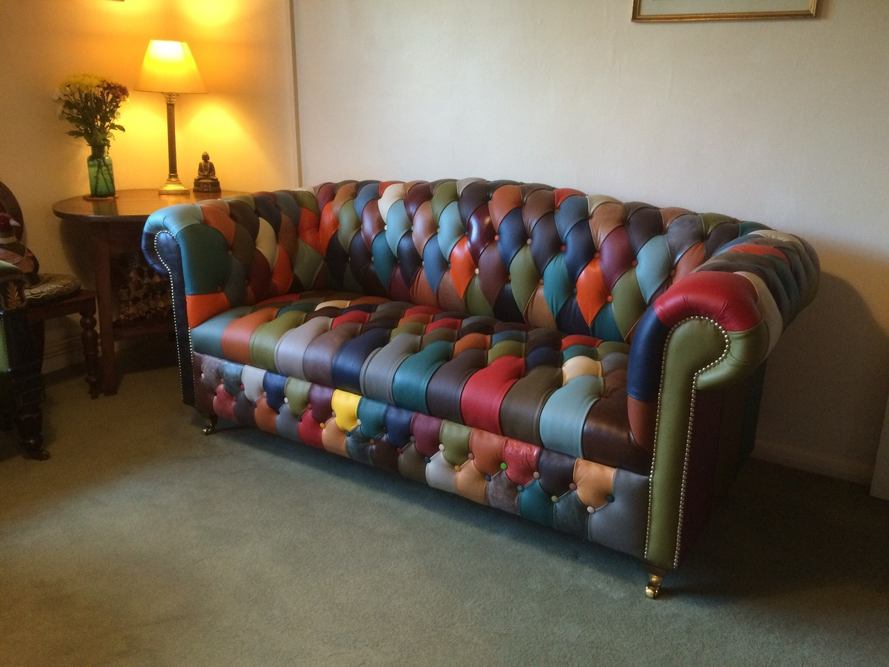 Harlequin High Back Leather 3 Seater Chesterfield Button Seat