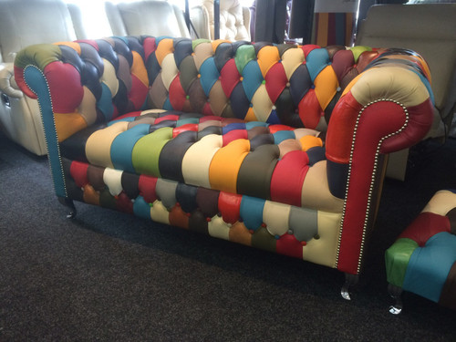 Harlequin Leather 2 Seater Chesterfield Button Seat
