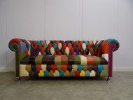 Harlequin Leather 3 Seater Chesterfield (button seat)