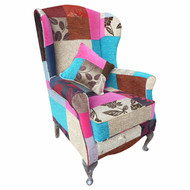 Patchwork  multi-coloured fabric with silver legs