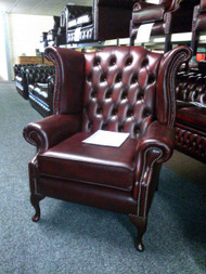 GEORGIAN SCROLL LEATHER WING CHAIR